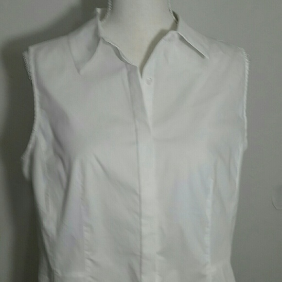 Tahari Tops - New White button-down collared tunic Tahari 12
